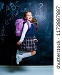 happy  little girl   at school... | Shutterstock . vector #1173887887