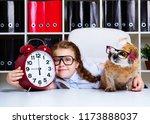 cute little girl wearing... | Shutterstock . vector #1173888037