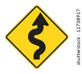 road sign   curves ahead warning | Shutterstock .eps vector #11738917