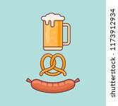 beer mug  pretzel and sausage... | Shutterstock .eps vector #1173912934