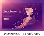 gold winner cup on red carpet... | Shutterstock .eps vector #1173927397
