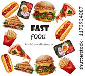 watercolor street food set.hand ... | Shutterstock . vector #1173934087