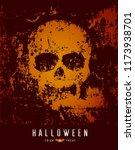 happy halloween skull and bat... | Shutterstock .eps vector #1173938701