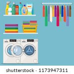 laundry room service. washing... | Shutterstock .eps vector #1173947311