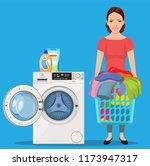 cheerful girl standing and... | Shutterstock .eps vector #1173947317