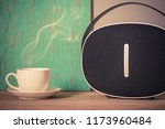 coffee espresso on wood table... | Shutterstock . vector #1173960484