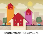 a urban area with arrow heads ... | Shutterstock .eps vector #117398371