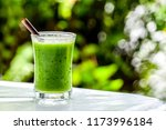 a glass of green smoothie... | Shutterstock . vector #1173996184
