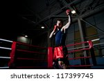 young adult man boxing in gym | Shutterstock . vector #117399745