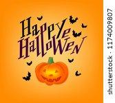 hand sketched happy halloween... | Shutterstock .eps vector #1174009807