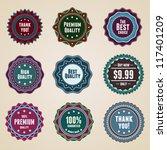 set 9 vintage premium quality... | Shutterstock .eps vector #117401209