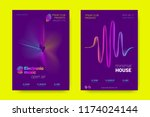 music wave poster. party flyer... | Shutterstock .eps vector #1174024144