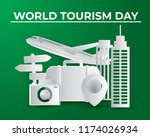 paper world tourism day tourism ... | Shutterstock .eps vector #1174026934