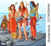 vector design of indian god... | Shutterstock .eps vector #1174030444