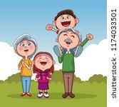 grandparents and kids   Shutterstock .eps vector #1174033501