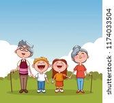 grandparents and kids   Shutterstock .eps vector #1174033504