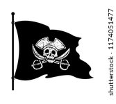 black piracy flag on a white... | Shutterstock .eps vector #1174051477