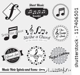 Vector Set  Music Notes Labels...