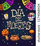 day of the dead elements.... | Shutterstock .eps vector #1174068424