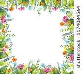 frame of watercolor summer... | Shutterstock . vector #1174084564