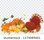 thanksgiving day greeting card. ... | Shutterstock .eps vector #1174089601