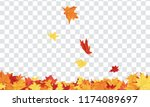 autumn  frame with falling ... | Shutterstock .eps vector #1174089697