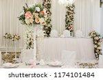 wedding banquet in restaurant ... | Shutterstock . vector #1174101484