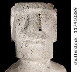 Moai face close-up at night (Isolated). Rano Raraku, Easter Island. Rapa Nui. Te pito o te henua. Chile, Polynesia. South America. Black background. - stock photo