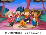 illustration of fire camp of...