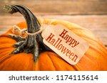 happy halloween   a pumpkin... | Shutterstock . vector #1174115614