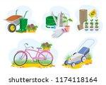 garden tool picture set cartoon ...   Shutterstock . vector #1174118164