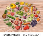 fruits and vegetables on wooden ... | Shutterstock .eps vector #1174122664