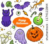 halloween hand drawn collection.... | Shutterstock .eps vector #1174122844