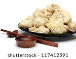 Chinese Dumplings On White...