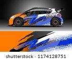 car decal wrap design vector.... | Shutterstock .eps vector #1174128751