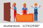 team of builders is working.... | Shutterstock .eps vector #1174129387