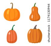 set of pumpkins isolated on... | Shutterstock .eps vector #1174130944