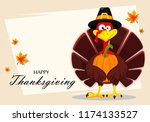 happy thanksgiving  greeting...   Shutterstock . vector #1174133527