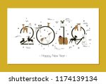 banner in breeds of dogs 2019 ... | Shutterstock .eps vector #1174139134