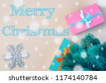 under the new year tree are... | Shutterstock . vector #1174140784