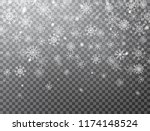 realistic falling snowflakes... | Shutterstock .eps vector #1174148524
