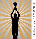 young sport winner holding a...   Shutterstock .eps vector #1174156054