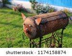 homemade metal brazier barbecue ...   Shutterstock . vector #1174158874