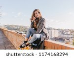 well dressed lady in good mood... | Shutterstock . vector #1174168294