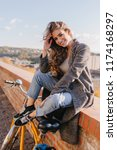amazing brown haired girl in... | Shutterstock . vector #1174168297