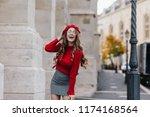 emotional female model in soft... | Shutterstock . vector #1174168564