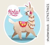 illustration with llama. vector ... | Shutterstock .eps vector #1174174621