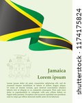 flag of jamaica  commonwealth... | Shutterstock .eps vector #1174175824
