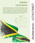 flag of jamaica  commonwealth... | Shutterstock .eps vector #1174175827