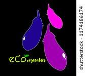 eggplant  vector  food ... | Shutterstock .eps vector #1174186174